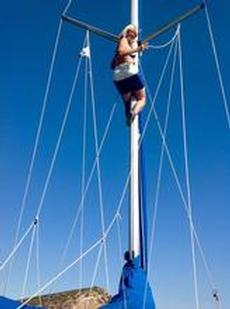 Byte av flagglina på hög höjd