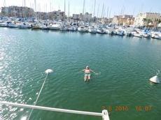 Ett svalkande dopp i hamnen