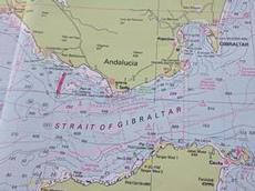Sjökortet som visar Gibraltar sund och Medelhavet