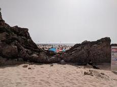 Den vackra stranden Praia Grande do Guincho