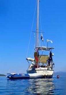 Bad på ön Skorpios