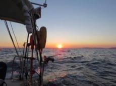 Solnedgång när vi lämnar ile de Porguerolles