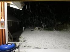 Snöar i Revesjö
